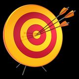 3d illustration of target arrows success shooting accuracy hitting. 3d illustration of target arrows success shooting accuracy sniper hitting of bull`s eye lucky Royalty Free Stock Photo