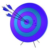 3d illustration of target arrows success shooting accuracy. Sniper hitting of bulls eye lucky concept. Isolated on white Royalty Free Stock Images