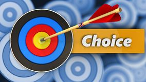 3d target with choice. 3d illustration of target with choice over many targets background Stock Photography