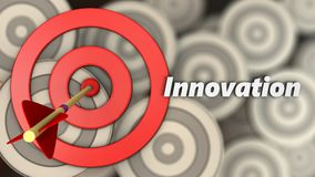 3d target circles with innovation sign. 3d illustration of target circles with innovation sign over multiple targets background Stock Photography