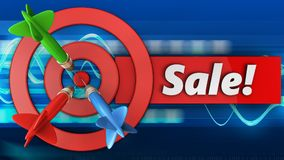 3d target circles with sale. 3d illustration of target circles with sale over blue waves background Royalty Free Stock Photography