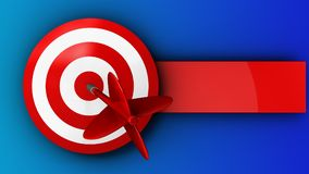 3d target with dart. 3d illustration of target with dart over blue background Stock Photo