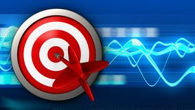 3d target with dart. 3d illustration of target with dart over blue waves background Royalty Free Stock Photography