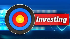 3d target with investing sign. 3d illustration of target with investing sign over blue waves background Stock Images