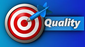 3d target with quality. 3d illustration of target with quality over blue background Stock Image