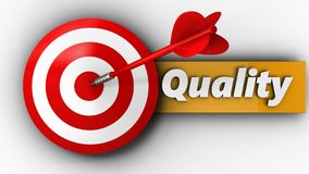 3d target with quality. 3d illustration of target with quality over white background Royalty Free Stock Images