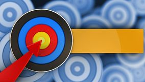 3d target with red arrow. 3d illustration of target with red arrow over many targets background Stock Images