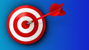 3d target with red dart. 3d illustration of target with red dart over blue background Stock Photo