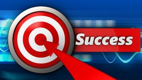 3d target with success. 3d illustration of target with success over blue waves background Stock Images