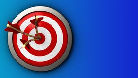 3d target with three arrows. 3d illustration of target with three arrows over blue background stock illustration