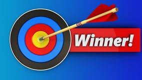 3d target with winner sign. 3d illustration of target with winner sign over blue background Stock Photo