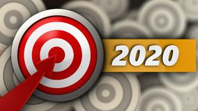 3d target with 2020 year sign. 3d illustration of target with 2020 year sign over multiple targets background Royalty Free Stock Photo