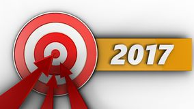 3d target with 2017 year sign. 3d illustration of target with 2017 year sign over white background Royalty Free Stock Photography