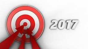 3d target with 2017 year sign. 3d illustration of target with 2017 year sign over white background Stock Images