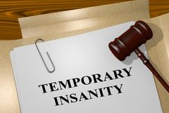 Temporary Insanity concept. 3D illustration of TEMPORARY INSANITY title on legal document Royalty Free Stock Photos