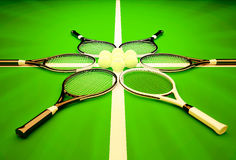 3D illustration.Tennis rackets and balls on a green background. Stock Photos