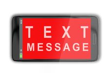 TEXT MESSAGE concept. 3D illustration of TEXT MESSAGE title on cellular screen, isolated on white Stock Photos