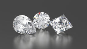 3D illustration three diamonds round, princes, pear with reflect Stock Photo