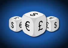 A 3D illustration of three dice with currency symbols Royalty Free Stock Images