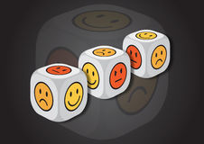 A 3D illustration of three dice with emotion symbols Royalty Free Stock Photography