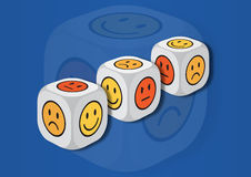 A 3D illustration of three dice with emotion symbols Stock Photos