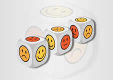 A 3D illustration of three dice with emotion symbols Royalty Free Stock Images