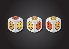 A 3D illustration of three dice with emotion symbols Stock Image