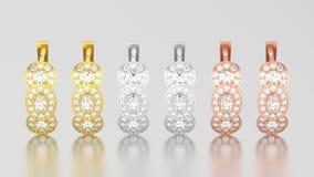 3D illustration three different gold decorative diamond earrings Stock Image