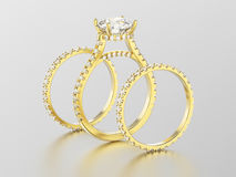 3D illustration three different yellow gold diamond rings Royalty Free Stock Photography