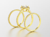 3D illustration three different yellow gold diamond rings Royalty Free Stock Images