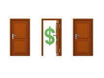 3D illustration of three doors with one being open and has dolla Stock Image