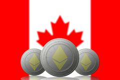 3D ILLUSTRATION Three ETHEREUM cryptocurrency with CANADA flag on background.  Stock Image