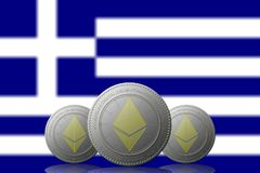 3D ILLUSTRATION Three ETHEREUM cryptocurrency with Greece flag on background.  Royalty Free Stock Photos