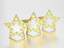 3D illustration three gold stars with diamonds. On a grey background Royalty Free Stock Photos