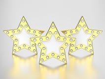 3D illustration three gold stars with diamonds Stock Photos