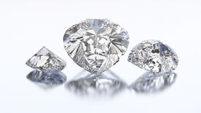 3D illustration three pear diamond stone. On a white blue background Royalty Free Stock Images