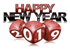 Happy New Year 2019 with Red Dice stock illustration