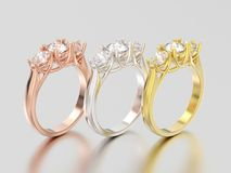 3D illustration three rose, yellow and white gold or silver thre Stock Photography