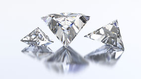 3D illustration three triangle diamond stone Royalty Free Stock Images