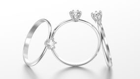 3D illustration three white gold or silver traditional solitaire Royalty Free Stock Images