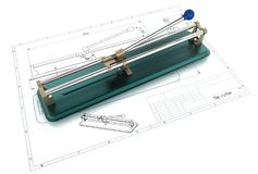 3D illustration of tile cutter Royalty Free Stock Photo