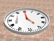 3D illustration of timetable. 3D illustration of watch that points to 5 o`clock Stock Photos