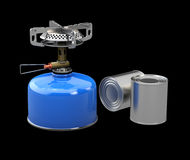 3d Illustration of Tin cans and Camping stove, isolated black Royalty Free Stock Photography