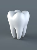 3D illustration of tooth on gray background. Royalty Free Stock Photography