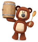 3d illustration bear with a barrel of honey. 3d illustration toy bear with a wooden spoon is preparing to eat a treat Stock Photography