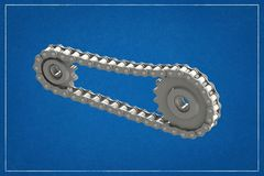3d illustration of a transmission of gears and chain. stock illustration