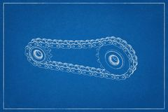 3d illustration of a transmission of gears and chain. vector illustration