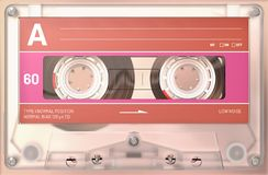 Transparent audio cassette with sticker and label royalty free stock images