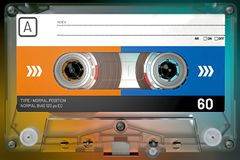 Transparent, blue and orange audio cassette with sticker and label stock images