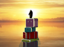 3d illustration of a travel penguin. With his suitcases stock illustration